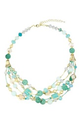 Saachi Turquoise Coral Stone Beaded Layered Necklace Green