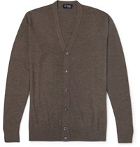 Hackett Elbow Patch Merino Wool Cardigan Brown