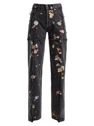 Vetements Sticker Mid Rise Straight Leg Jeans Dark Grey