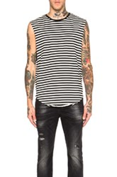 R 13 R13 Sleeveless Muscle Tee In Stripes Black