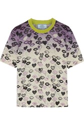 Prada Printed Wool And Cashmere Blend Sweater Lilac