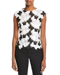 Monique Lhuillier Butterfly Lace Guipure Shell Top White Black