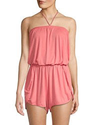 Lucky Brand Tassel Halter Romper Cover Up Coral