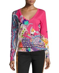 Etro Floral Paisley Silk Cashmere V Neck Sweater Pink Pink Pattern