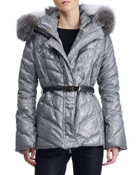 Gorski Hooded Quilted Puffer Apres Ski Jacket With Fox Fur Trim Gray