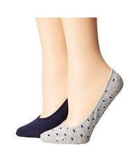 Cole Haan 2 Pack Pin Dot Liner Oxford Heather Marine Blue Women's Crew Cut Socks Shoes Multi