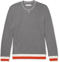 Orlebar Brown Whiteley Contrast Trimmed Waffle Knit Cotton Sweater Gray