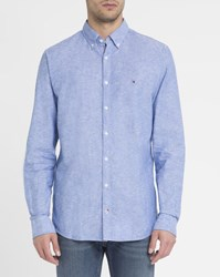 Tommy Hilfiger Blue Chambray Linen Cotton Shirt