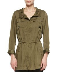 Eileen Fisher Hooded Anorak Polished Jacket Olive Green