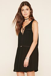 Forever 21 Embroidered Mesh Peasant Dress