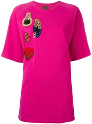 Mr And Mrs Italy Multi Patch T Shirt Pink And Purple