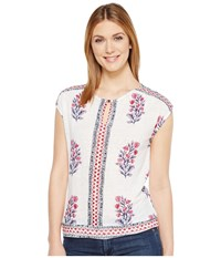 Lucky Brand Wood Block Floral Top Natural Multi Women's Clothing