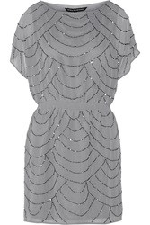 W118 By Walter Baker Eunice Bead Embellished Chiffon Mini Dress Gray
