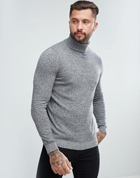 New Look Roll Neck Knitted Sweater In Gray Marl Gray
