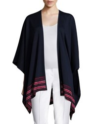 St. John Wool Blend Cape Coat Navy Red Multi