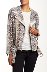 Elizabeth And James Corlyn Genuine Python Print Leather Jacket White