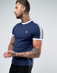 Fred Perry Sports Authentic Long Sleeve T Shirt In Navy Carbon Blue