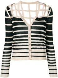 Jean Paul Gaultier Vintage Striped Open Back Cardigan Neutrals