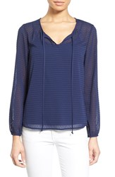 Women's Gibson High Low Textured Chiffon Blouse Navy