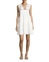 Miguelina Luce Linen Lace Inset Dress White