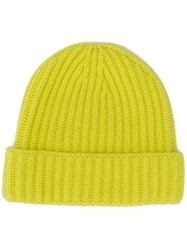 Pringle Of Scotland Ribbed Beanie Hat Yellow