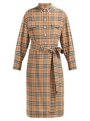 Burberry House Check Silk Shirtdress Beige Multi