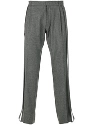 Chalayan Carrot Trim Trousers Virgin Wool Grey