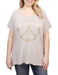 Lucky Brand Plus Peace Sign Graphic Tee Grey