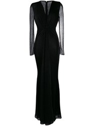 Talbot Runhof Metallic Voile Long Dress Black