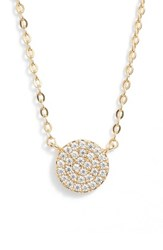 Nordstrom Pave Disc Pendant Necklace Clear Gold