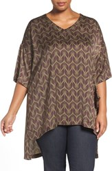 Melissa Mccarthy Seven7 Plus Size Women's Print One Pocket V Neck Tee Burnt Olive