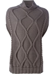 Eleventy Cable Knit Sweater Brown