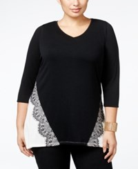 Belldini Plus Size Lace Applique Colorblock Tunic Top Black Ivory