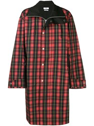 Cmmn Swdn Button Check Coat Red