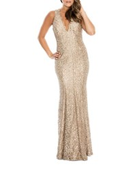 Decode 1.8 Sequined Fishtail Gown Gold