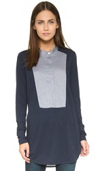 Vince Mixed Media Tuxedo Tunic Blue Marine Dark Indigo