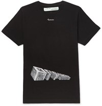 Off White Printed Cotton Jersey T Shirt Black