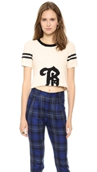 Band Of Outsiders Short Sleeve B Crop Sweater Ivory