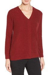 Nordstrom Women's Collection V Neck Cashmere Pullover Red Sun