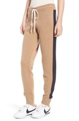 Juicy Couture Side Stripe Cashmere Track Pants Camel Pure White City