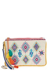 Steven By Steve Madden Embroidered Pompom Clutch