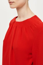 Topshop Ruched Peplum Top By Boutique Red