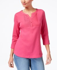 Karen Scott Cotton Pleated Henley Created For Macy's Steel Rose