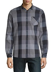 Civil Society Plaid Cotton Button Down Shirt Blue