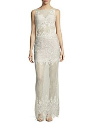Basix Black Label Sleeveless Lace Column Gown Silver