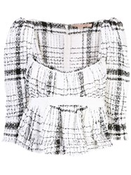 Brock Collection Occupy Plaid Top White