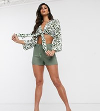 Akasa Exclusive Drawstring Beach Short In Khaki Green