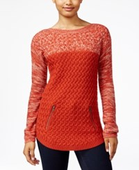 It's Our Time Juniors' Colorblocked Tunic Sweater Fall Rust