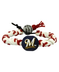 Game Wear Milwaukee Brewers Frozen Rope Bracelet White Red