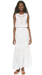 Burning Torch Ritual Embroidered Maxi Dress White